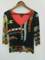 Cartise Women's Black Multicolor Abstract Print 3/4 Sleeve Blouse Top Size M
