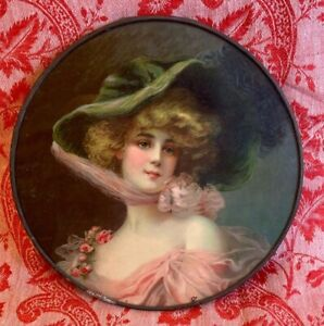 FLUE COVER LOT #86 Victorian Woman w/ Hat pink bow, dress and roses.