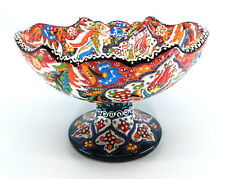 Handmade Turkish Traditional Ceramic Pottery Footed Candy Dish or Server (E)