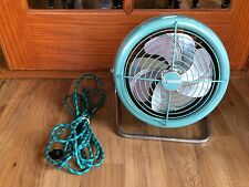 Vintage Dominion Turquoise Fan On A Stand