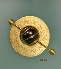 Engraved Gold Brooch Pin Abstract Tortoise Gold Plated