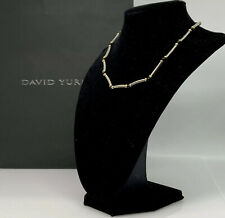 David yurman 925 And 14K Gold-Black Onyx Hampton Necklace/Choker 15""