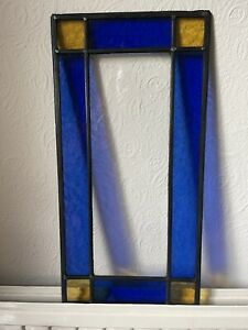 Leaded Light Stained Glass Window Rectangular Blue and Yellow. 3 Sizes