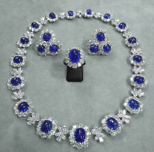 PRECIOUS GEMSTONES BLUE SAPPHIRE CABOCHON NECKLACE EARRINGS WITH MATCHING RING