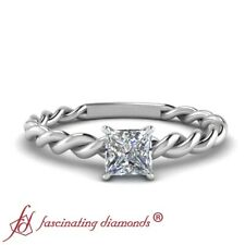 1/2 Carat Princess Cut Diamond Twisted Band Solitaire Engagement Ring For Women