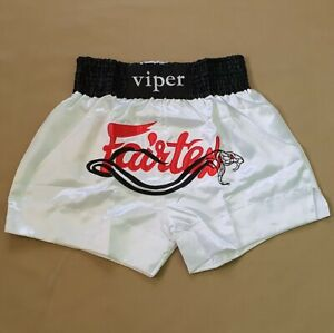 SHORTS FAIRTEX MUAY THAI FIGHT MMA KICK BOXING WHITE VIPER ADULT L SATIN