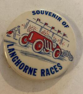 vintage Souvenir of Langhorne races Pinback   Excellent   Condition
