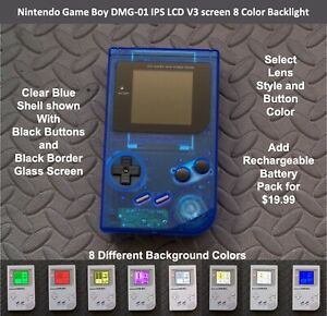 Nintendo Game Boy DMG-01 with IPS LCD V3 screen 8 Color Backlight - CLEAR Blue