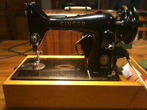 Vintage 99K SINGER SEWING MACHINE in Original Wooden Case in GREAT Condition