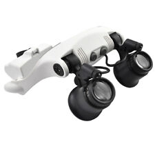 2 Eyes Head Wearing Magnifying Jeweler Watch Repair Magnifier Loupe 2 LED Light