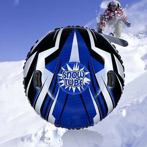 Blizzard Snow Tube Inflatable Heavy Duty Freeze Resistant Snow Sled With Handle^