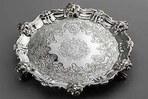 1739 John Tuite George II STERLING SILVER salver card tray 10.23 troy oz
