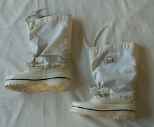 "vtg Sorel snow boots,USA,white, HIGH 12"", made in USA,felt liners,womens 5 girls"