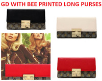 ITALY DESIGN STYLE WOMEN LONG PURSE WITH GD & BEE PRINT WITH GOLD PINCH LOCK