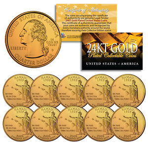 2008 Hawaii State Quarters U.S. Mint BU Coins 24K GOLD PLATED (LOT of 10)