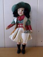 "Doll Cowgirl Vintage Knickerbocker Western w/gun Buckaroo 8"" Excellent"