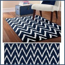 New 8' x 10' Area Rug Mat Carpet Chevron Navy White Contemporary Large Decor