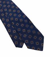 "Sulka Men's Blue Geometric Squares 100% Silk Tie Made In France 3.75"" Width Mint"