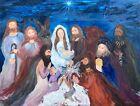 OriginalJesusChristNativityoilpainting by Mina Zavala Lanzas LouisianaNewOrleans <br/> Christian.NativitreligiousJesusChrist  birth  Christmas