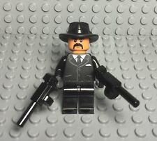 Lego New Tuxedo Criminal / Mob Gangster Boss Mini Figure With X2 Tommy Gun