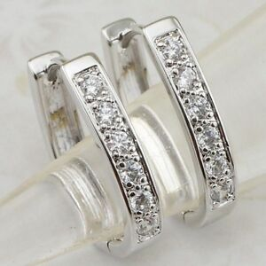 Classical Nice White CZ Gems Jewelry Gold Filled Huggie Woman Earrings H1882