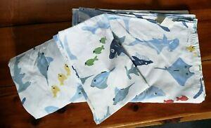 Pottery Barn Kids Sharks & Sea Life on White Background Twin 3pc.Sheet set