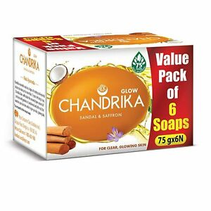 Chandrika Sandal & Saffron Bar Soap 75g-6 Pack