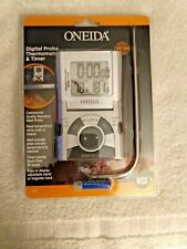 Oneida 31201 Digital Probe Cooking Thermometer with Timer in Grey