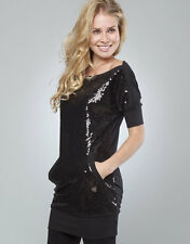 JUICY COUTURE sequin dress tunic t-shirt mini abito vestito tunica donna S/M NWT