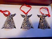 "Lenox Christmas Set of 3 Metal Angel Ornaments 3"" In Box"