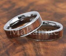 Tungsten  Inlaid Koa Wood  Ring 6mm