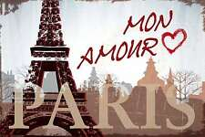 Blechschild - PARIS EIFFELTURM LIEBE MON AMOUR TOUR EIFFEL   -  20x30 cm 23035