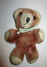 """Vintage brown & tan plush unmarked 6"""" bear Gc"""