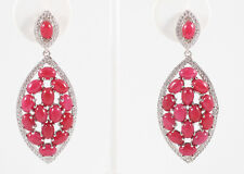 Designer Ruby and White Sapphire Sterling Silver Dangling Earrings