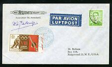 1960 Belgium rocket cover Tahoe City, signed de Bruijn Winter Olympics 16C1c