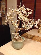"Vintage Bonsai Tree White Glass Jade Flower Bouquet Blossom With Vase 19 x 14"""