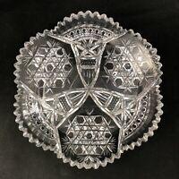 "🟢 Antique Straus Macys ABP Brilliant Cut Glass HOBNAIL & STAR Pattern 9"" Plate"