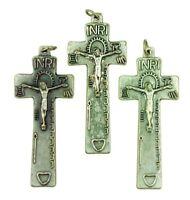 Silver Tone Cross Penal Crucifix Pendant for Irish Rosary, Lot of 3, 2 Inch