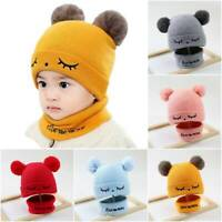 Baby Kids Infant Winter Hat With Scarf Crochet Toddler Girl&Boy Knit Cap Beanie