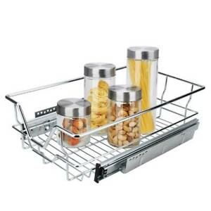 Pull Out Wire Basket Kitchen Larder Storage Drawer Cupboard Soft-Close for 400mm