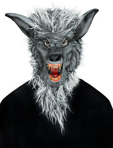 Deluxe Gray Werewolf Full Mask Teeth Faux Fur Adult Halloween Costume Accessory