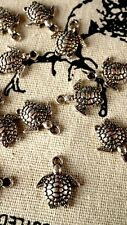 Turtle 10 charms silver pendant charm jewellery supplies C244