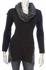 New Women's #1440 Style & Co.Silver & Black  Sequin-Scarf Knit Sweater Size PXL