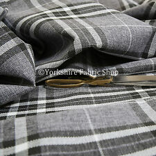 Quality Hard Wearing Plaid Tartan Stripe Chenille Upholstery Fabrics Light Grey