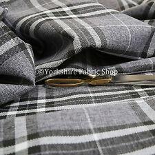 Quality Hard Wearing Plaid Tartan Stripe Chenille Upholstery Fabrics Light Grey