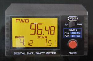 K-PO DG-503 SWR & Watt Meter für den Bereich 1,6-60 MHz und 125-525 MHz.