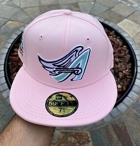New Era Los Angeles Angels Pink Size 7 1/4 40th Anniv Patch Not Hat Club Fitted