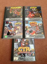 CRASH BANDICOOT 1 + 2 + 3 + BASH + CTR TEAM RACING SONY PLAYSTATION 1 PS1 GAMES