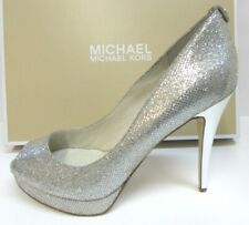 Michael Kors Size 10 Silver Glitter Heels New Womens Shoes