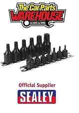 """Sealey 1/4"""" & 3/8"""" unidad T10-T60 Trx-Estrella Impacto Zócalo Bit Set Riel de una sola pieza"""
